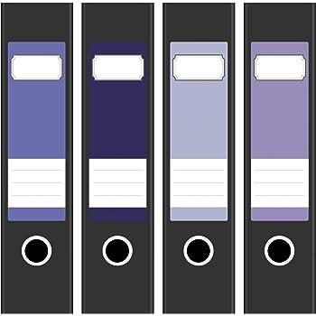6cm breit Farbe Blau selbstklebend Design R/ückenschilder Aufkleber 4 Ordnerr/ücken Etiketten f/ür breite Akten-Ordner