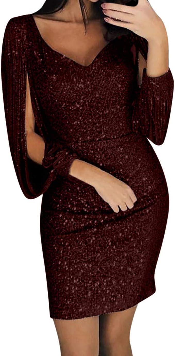 Tefamore Damen Abendkleider Glitzer Kleid Minikleid Festliches Kleid Fransen Langarm Club Sexy V Ausschnitt Cocktailkleid Fur Hochzeit Karneval Kostume Dress Sale 1 Wein 3xl Amazon De Bekleidung