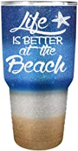 Life is Better at the Beach Glitter Ombre 30 oz Stainless Steel Tumbler