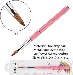 KEMEISI Kolinksy Nail Brush Sunflower Pink Handle Sable Acrylic Brush Factory Direct Crimped Size 8,10,12,14,16 (#8)