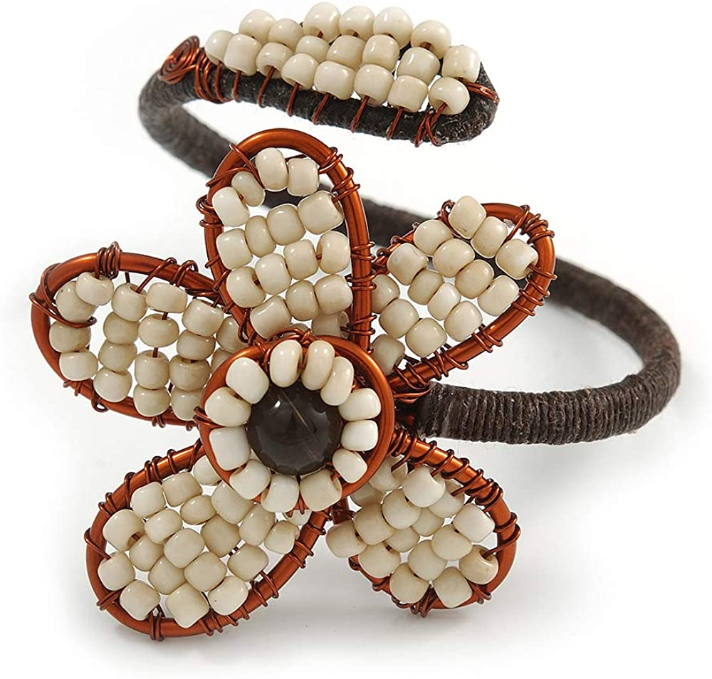 Avalaya Off White Glass Bead Flower Copper Wire Flex Cuff Bracelet - Adjustable