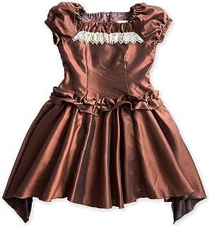 (キャサリンコテージ) Catherine Cottage子供ドレス 女の子 子供服 子ども キッズドレス 子どもドレス 発表会 子ども ピアノ発表会 結婚式 ワンピース 120 130 140 150 160 cm ブラウン アシンメトリースカートドレス