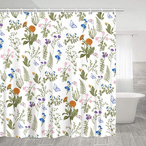 Stacy Fay Flower Shower Curtain, Wild Flowers Poppies and Daisies Rural Nature Scenery Cloth Fabric Bathroom Decor Set with Hooks, 72