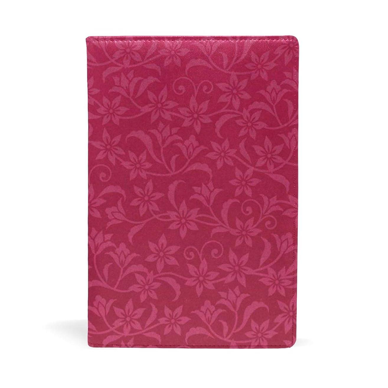 読者出身地保証花柄 赤 ブックカバー 文庫 a5 皮革 おしゃれ 文庫本カバー 資料 収納入れ オフィス用品 読書 雑貨 プレゼント耐久性に優れ