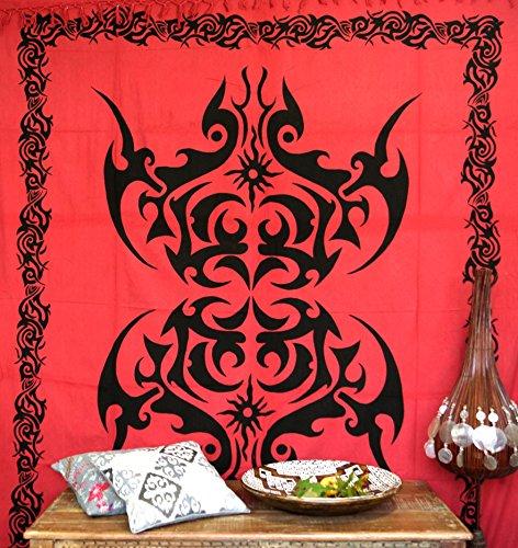 GURU SHOP Wandbehang, Wandtuch, Mandala, Tagesdecke Keltisch - Design 13, Rot, Baumwolle, 220x190x0,1 cm, Bettüberwurf, Sofa Überwurf