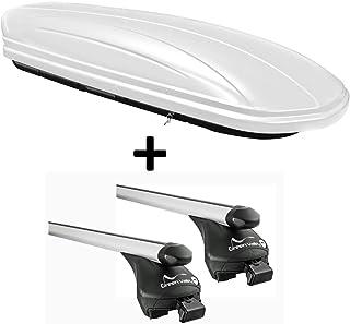 VDP Dachbox weiß VDPMAA320W 320 Liter abschließbar + Alu Relingträger Dachgepäckträger Quick aufliegende Reling im Set Alu kompatibel mit BMW X3(F25) ab 2011 bis