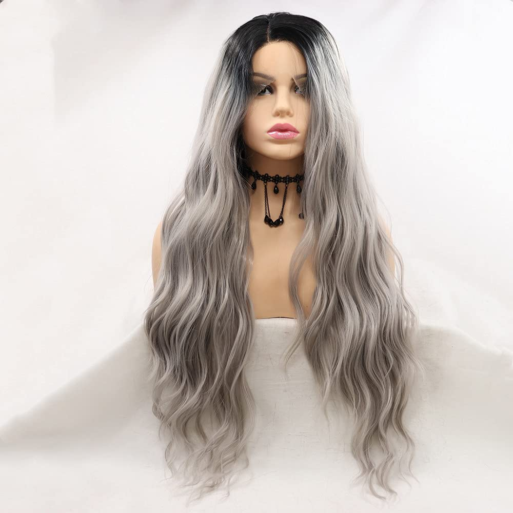 Finally popular brand Melody Wig Synthetic Grey Lace Front Long Max 70% OFF For Women Lo Wigs Hair