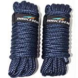 INNOCEDEAR 2 Pack Premium Navy Blue Dock Lines - 15' / 25'/35' with Eyelet.Double Braided Nylon Dock Line/Mooring Lines.Hi-Performance Marine Boats Ropes
