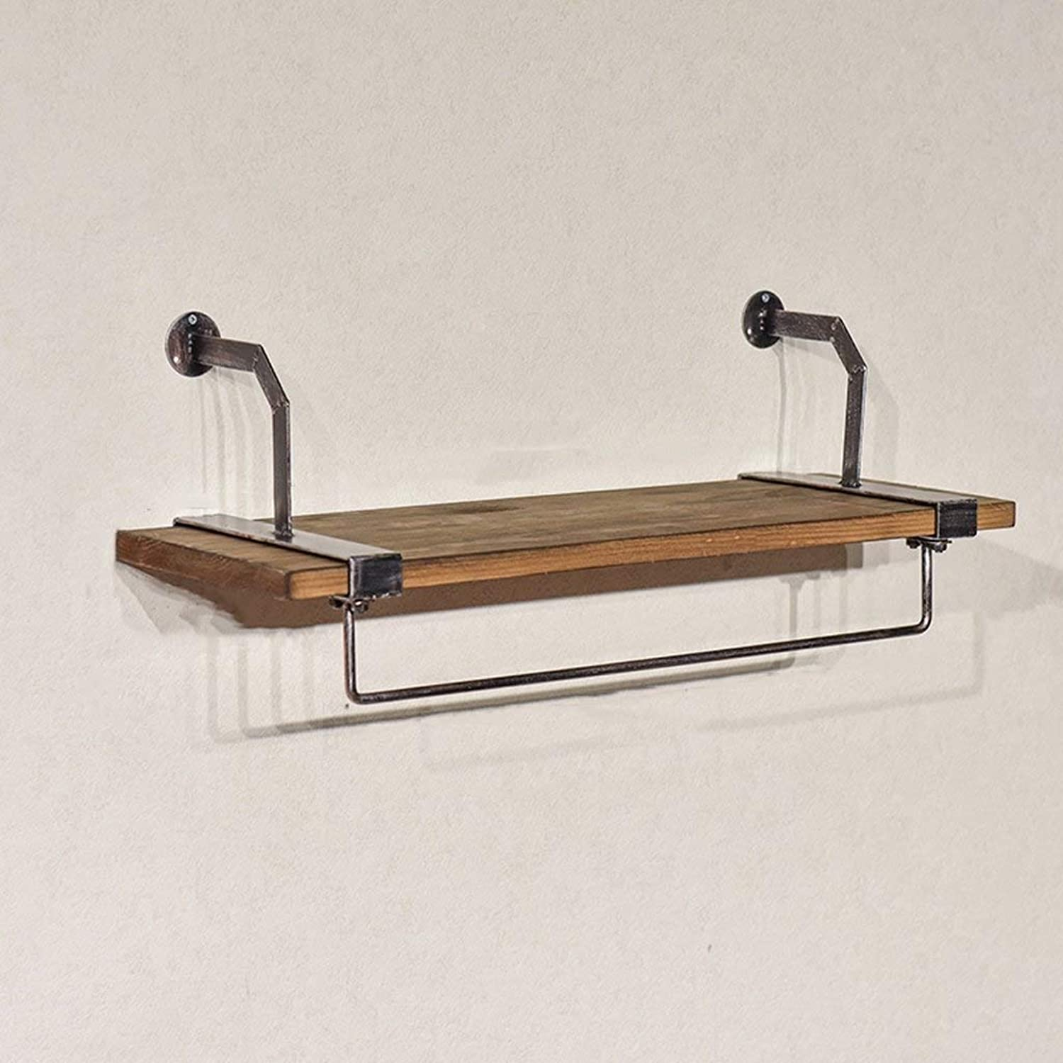 Shelf 2 in 1 Vintage Iron Wall Hook Hook Solid Wooden Wall Shelf Combination Clothing Rack Living Room Bedroom Study Cloakroom (color   A, Size   100cm)