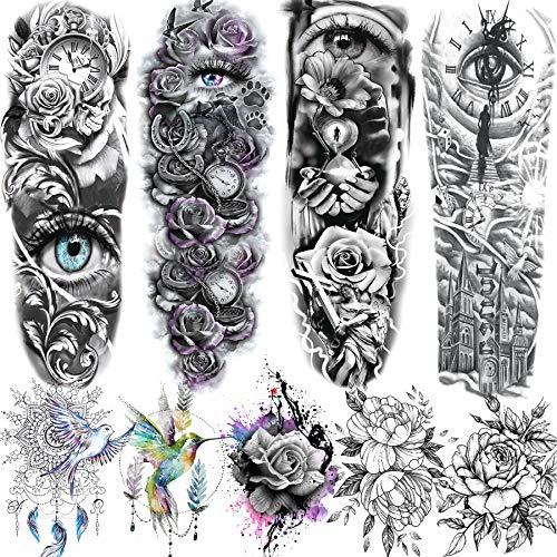 Rejaski 9 Sheets 3D Realistic Eye Full Arm Sleeve Temporary Tattoos For Women Men Extra Long Large Clock Rose Flower Tatoos Paste Paper Body Leg Custom Floral Blossom Waterproof Fake Tattoo Stickers