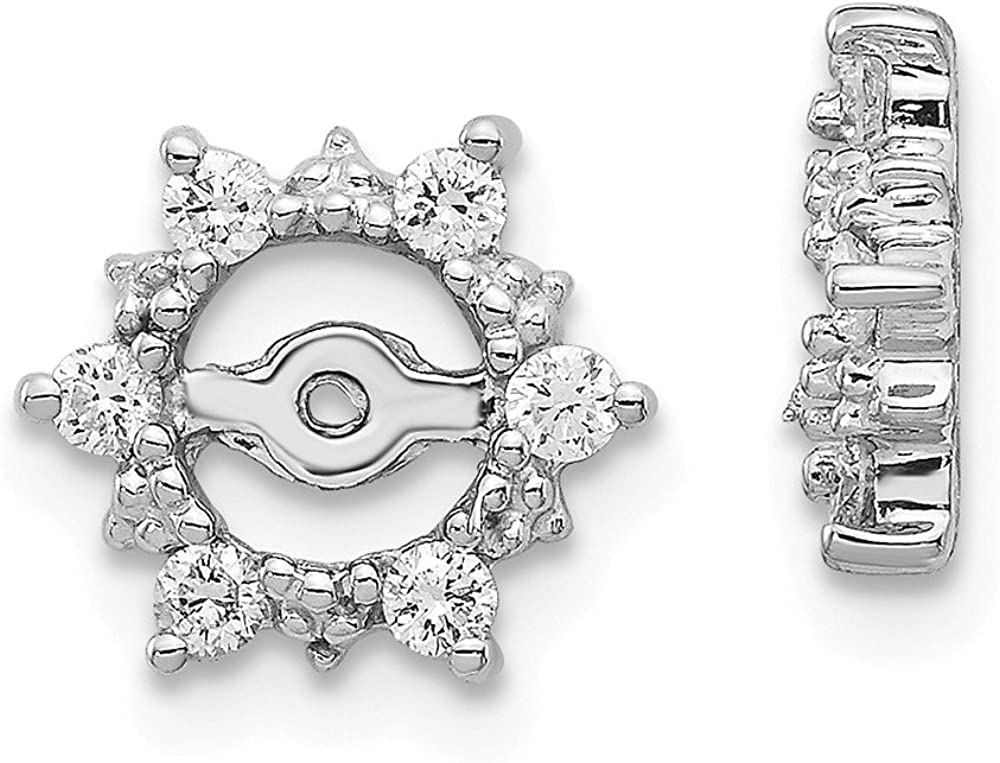 Solid 14k White Gold Diamond Earring Jackets 10mm (.24 cttw.)