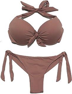 aa832fa589 EONAR Femme Maillot de Bain Deux Pièces Halter Bikini Hauts et Brésilien  Bas de Maillot