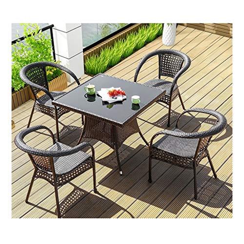 DYYD Juegos de Muebles de jardín Muebles de Exterior Mesa y sillas de jardín Conjunto de Cristal Mesa de Centro Superior Patio Set Mesa de café Conversación Patio al Aire Libre