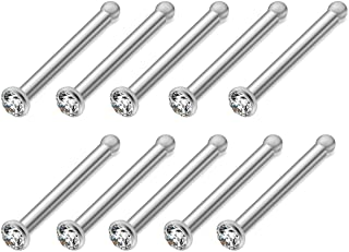 PiercingJ 10Pcs 20G Stainless Steel Nose Stud Set Nose Pin Bone Rings 1.5mm 2mm 2.5mm 3mm Cubic Zirconia Crystal Nose Retainer Body Piercing Jewelry for Womens