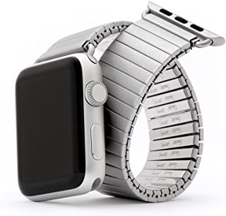 Twist-O-Flex Metal Expansion 42mm / 44mm Stainless Steel Stretch Watchband Replacement for Apple Watch Series 1, 2, 3, 4 and 5 in Brushed, Silver and Black by Speidel