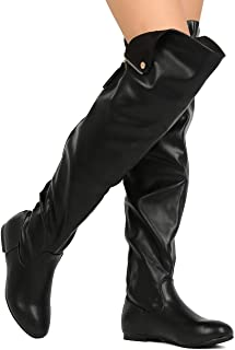 4dc97ef0578 Nature Breeze Vickie-45 Women Leatherette Thigh High Hind Zipper Flat Boot