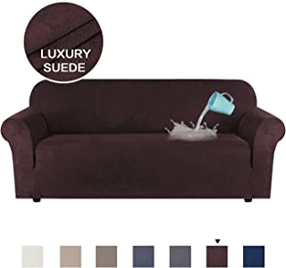 H.VERSAILTEX Luxurious Soft High Stretch Suede Sofa Slipcover Brown Couch Covers Velvet Plush Furniture Protector Machine Washable Sofa Covers, 3 Seater Sofa Large Size