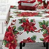 Benson Mills Botanical Plaid Fabric Printed Tablecloth, 60x84, Multi,20534