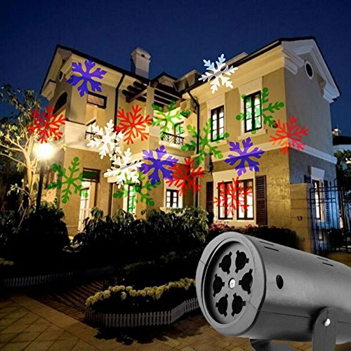Christmas Projector Outdoor Decorations Projector 4-Color Spotlight Revolving Display Indoor and Outdoor Garden Terrace Wall