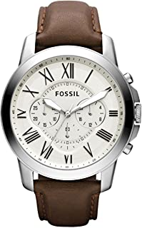 Fossil Leather Mens Quartz Watch, FS4735IE, Brown & White