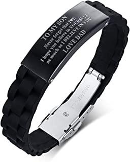 DIB Free Engraving Custom Stainless Steel Silicone & Sports Medical Alert ID Wristband Bracelets for Men Women, Adjustable (18-22.5CM)