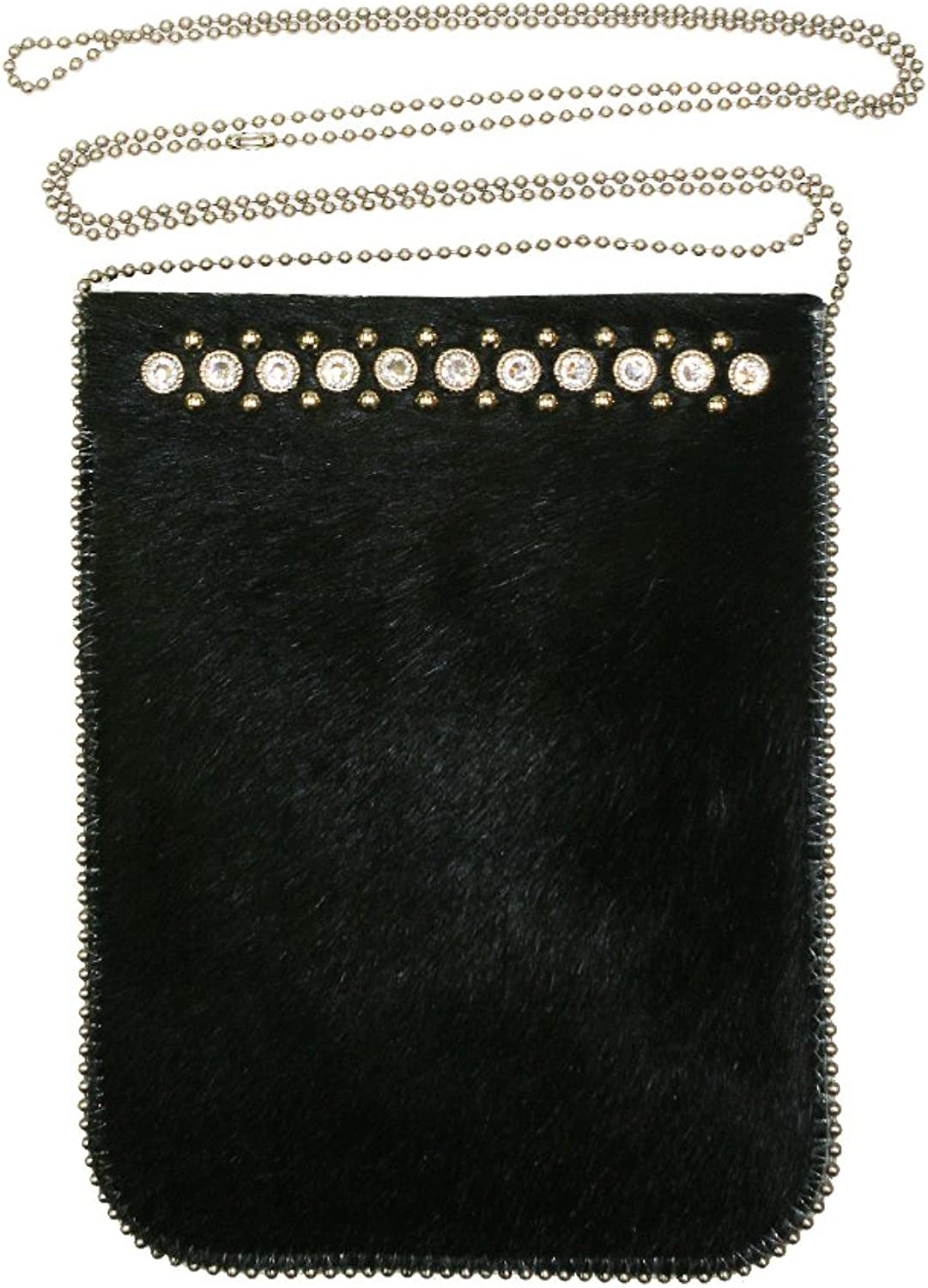 Leatherock Crossbody Cell Phone Pouch Finished With Swarovski Crystal And Stud Design