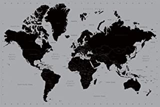 Pyramid World Map Contemporary Poster Print