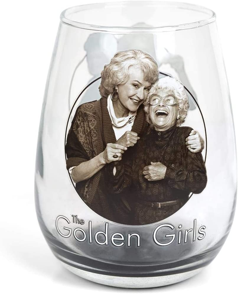 JUST FUNKY Official Golden Girls Stemless Wine a Glasses - Translated Black gift