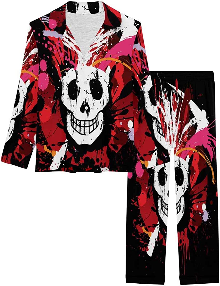 InterestPrint Notch Collar Soft Sleepwear Pj Set for Women Splatter Skull