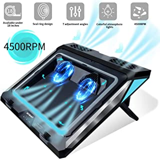 Laptop Cooler,Laptop Cooling Pad for 14-17 Inch Gaming Laptop, Double Blower Cooler Pad with Dust Filter, Flexible Rubber Ring, Colorful Lights,Adjustable Mount Stand,Third Gear Speed-Black