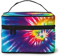 AHOOCUSTOM Makeup Bag Colorful Tie Dye Portable Travel Cosmetic Bags Organizer Multifunction Case Toiletry Bags for Women Girls