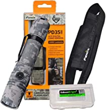 Fenix PD35 V2.0 2018 Edition V2 1000 Lumen CREE XP-L HI V3 LED Tactical Flashlight with EdisonBright BBX3 battery carry case (Digital Camo)