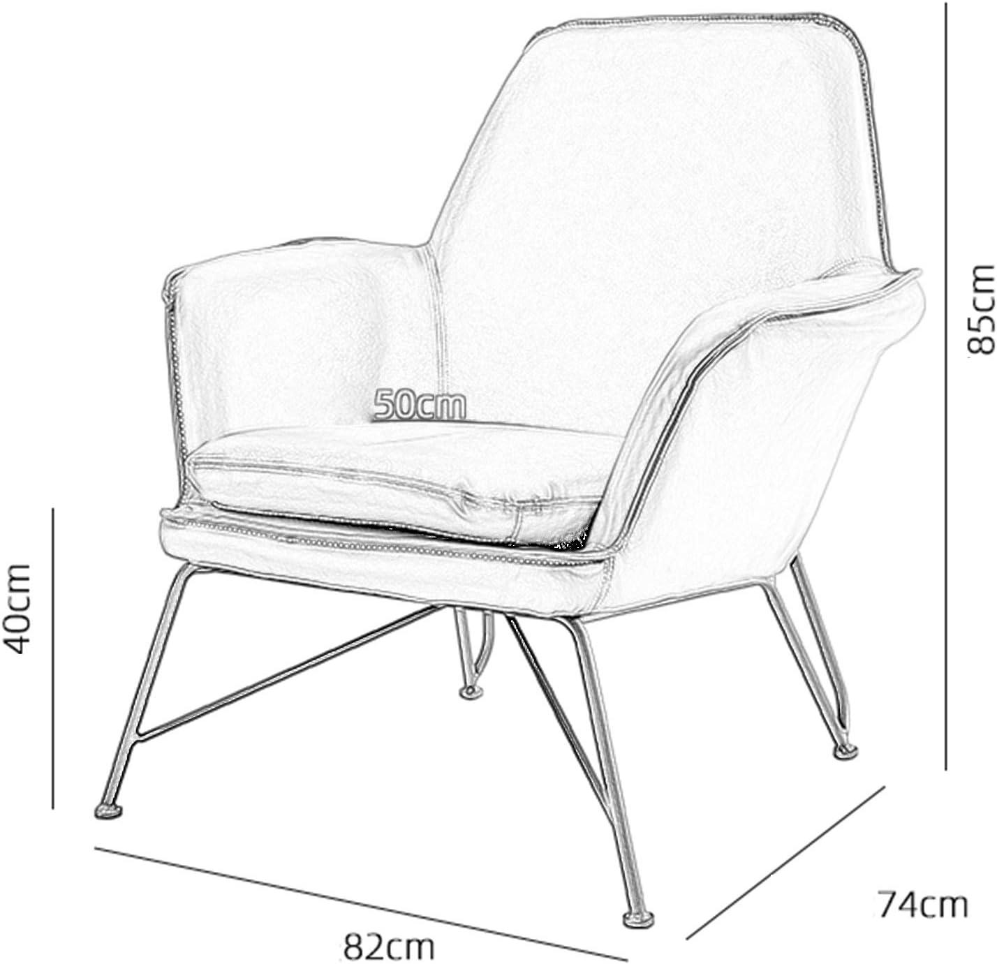 Canapé en Cuir De Ménage, Chaise De Loisirs Simple en Fer Forgé, Dossier élargi Et Fauteuil Ergonomique Marron 1118S(Color:Blanc) Blanc