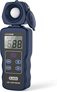 Dr.meter Professional LED Light Meter, Digital Illuminance Meter with 0-200,000 Measuring Ranges and 270 Degree Rotatable Detector