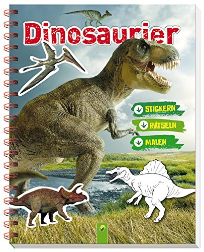 Dinosaurier Stickern Rätseln Malen: Mit vielen bunten Stickern