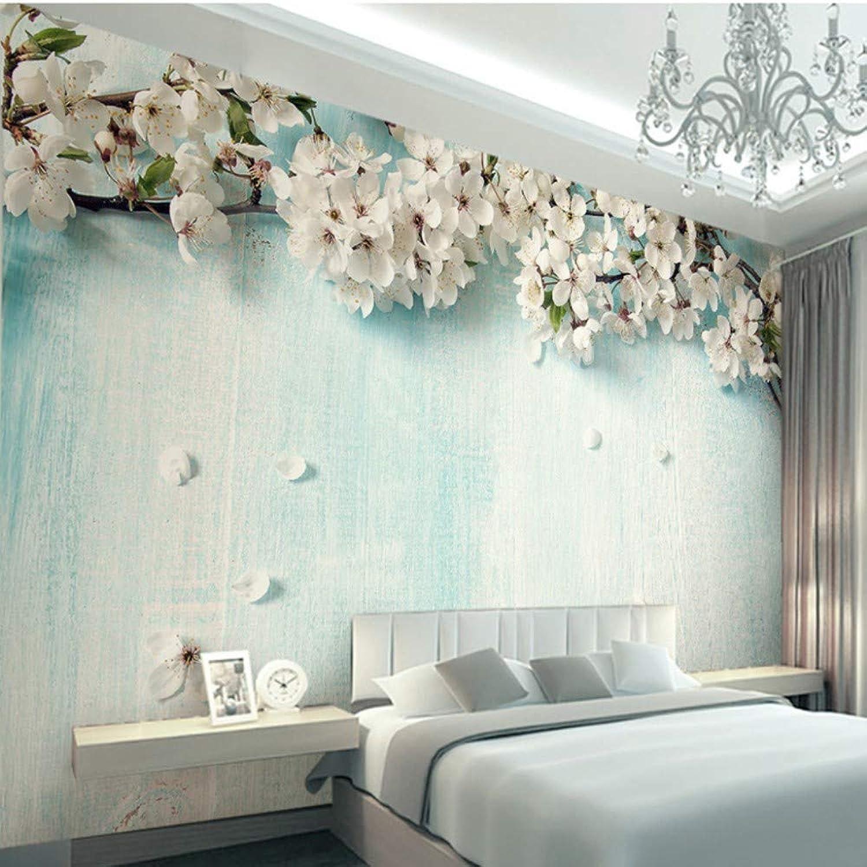 Qhrdp Foto Papel Tapiz 3D Fresco Azul Madera Flor De Cerezo Salón Dormitorio Fondo Projoección Ambiental Papel Tapiz Mural 200X140Cm