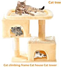 Jueapu Cat Tree,Cat Climbing Frame,Luxury cat Tower,Cat Nest,Cat House, A Stable Play House with 2 Large Condominiums,Suitable for Pets to Rest and Play.