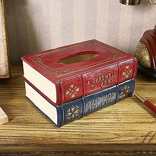 ZTAA Sala de Estar Retro Libro Caja de pañuelos Decoración Mesa Creativa...