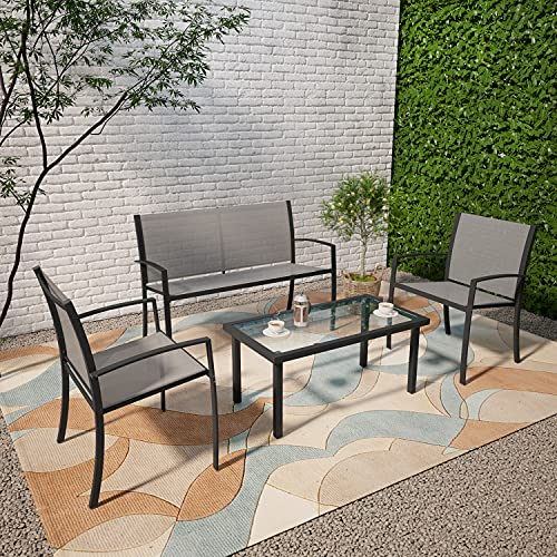 Outdoor Garden Furniture Set, Patio Conservatory 4 Piece Set Coffee Table Chair Sofa, Indoor Outdoor Dining Set for Backyard Poolside Lounge Balcony Terrace (4 Seater, Grey)
