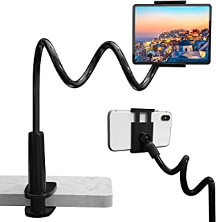 Fegishilly Bed Tablet/Phone Holder, 2 in 1 Mount Stand Universal 360°Flexible Long Arm Lazy Bracket Holder Clamp Stand Cel...
