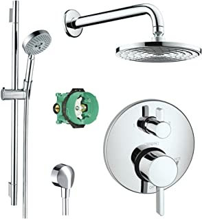 Hansgrohe Complete Chrome Raindance Shower Faucet Set with Handshower Wallbar, Pressure Balance Valve Trim with Diverter, and Rough