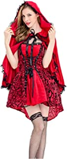 Peachi Women's Halloween Deluxe Cosplay Beautiful Sexy Little Red Riding Hood Costumes