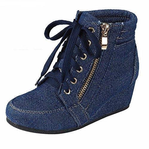 ShoBeautiful Women's Fashion Wedge Sneakers High Top Hidden Wedge Heel Platform Lace Up Shoes Ankle Bootie Blue Jean 6