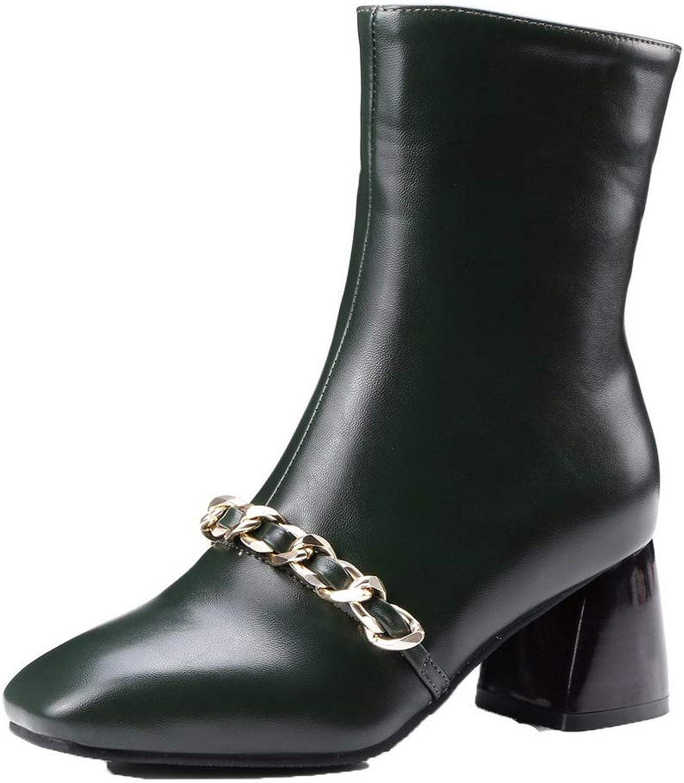 WeiPoot Women's Solid Pu Kitten-Heels Zipper Closed-Toe Boots, EGHXH110212