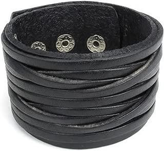 KONOV Wide Genuine Leather Mens Bangle Cuff Bracelet, Punk Rock, Fits 7.5