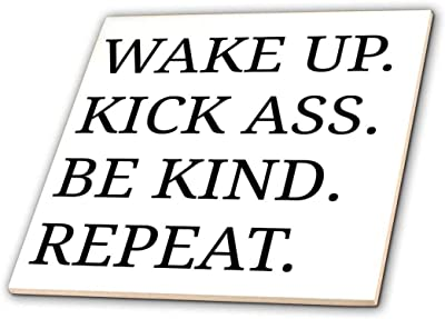 3dRose Wake up Kick Ass be Kind Repeat Black Letters on White Background-Ceramic Tile, 6-inch (ct_201904_2), Multicolor