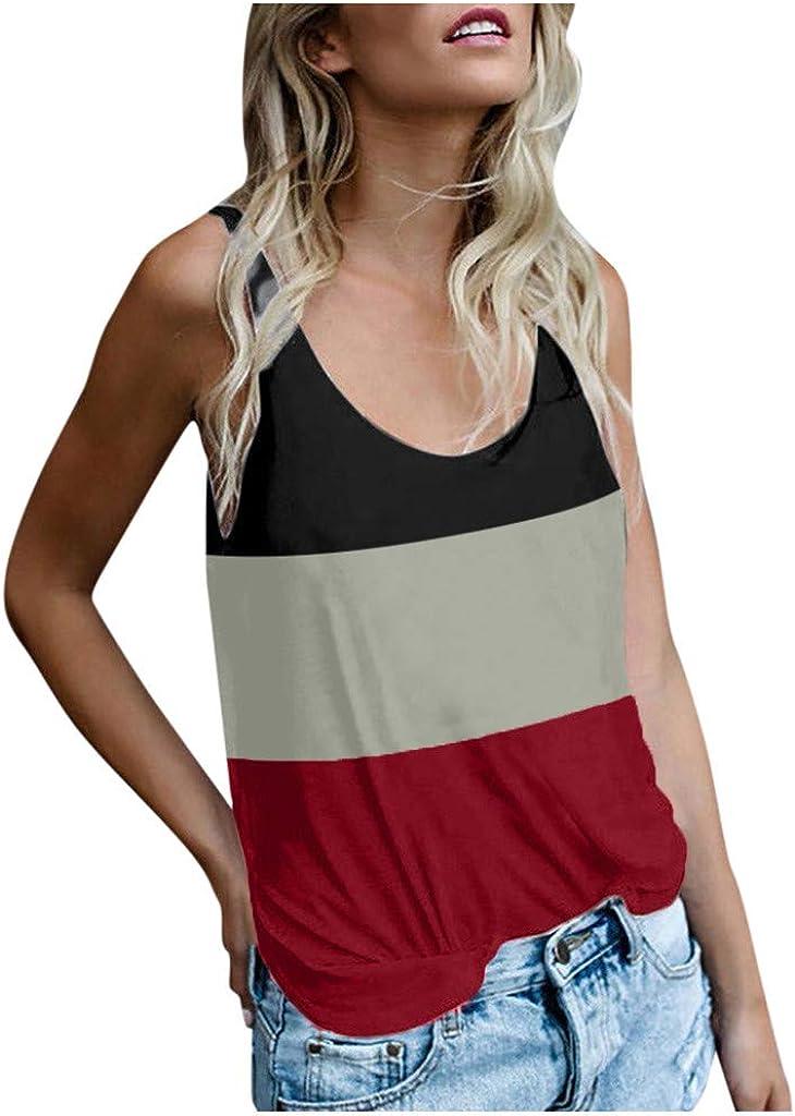 Portazai Women Vest Fashion Color Block Striped Tank Tops Summer Casual Loose Sleeveless Shirts Tunic Blouse T-Shirts