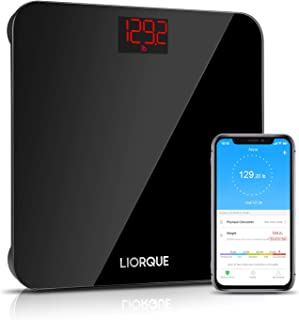 Liorque Báscula digital de alta precisión BMI Báscula con tecnología Smart Step-On con cristal templado, báscula inalámbrica con APP, 180 kg, color negro