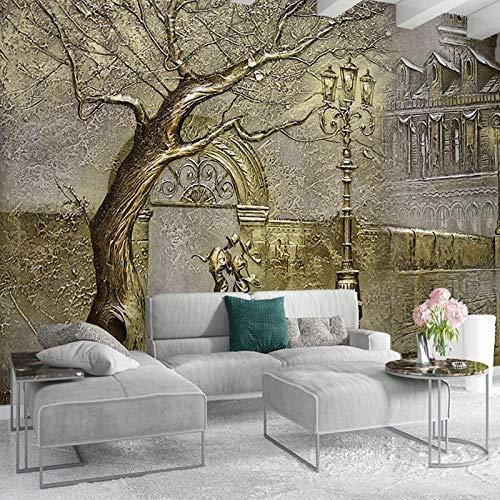 Fotomurales Castillo y árbol dorado grande abstracto 450x300 cm -9 piezas Papel Pintado Fotográfico Papel pintado Tipo Fleece no-trenzado Vista 3D Salón Dormitorio Despacho Pasillo Decoración murales