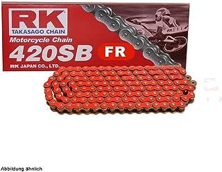 Motorrad Kette ROT RK FR420SB mit 130 Rollen und Clipschloss offen